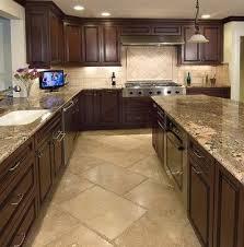 Kitchen Floor Tile Dark Cabinets