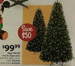 5 Ft Pre Lit Multicolor Christmas Tree by Aafes Black Friday 7 5 Ft Pre Lit Aspen Pine Clear Of Multi