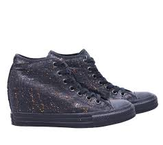 100 Star Lux Converse Black Chuck Taylor All Wedge Sequins Wedge Womens Sneakers