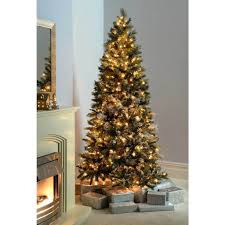 Pre Lit Pencil Christmas Trees pre lit slim snow flocked spruce multi function christmas tree