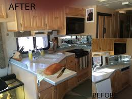 Redecorated RV Kitchen Before And After
