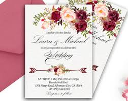 Burgundy Wedding Invitation Printable Boho Suite Romantic Rustic Marsala Floral
