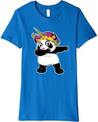 Womens Unipanda TShirt Dabbing Unicorn Panda With Rainbow Hair Small Royal Blue