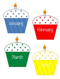 Classroom Birthday Chart Monthly Cupcakes