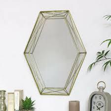 gold geometrisch wand spiegel groß metall draht scandi luxus