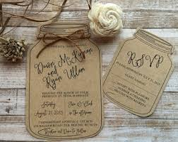 Rustic Wedding Invitation Mason Jar Shabby Chic Barn