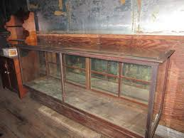 Antique Oak Glass Showcase General Store Counter Display Case