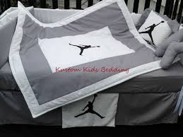custom new michael jordan crib bedding set 7 pieces in grey and