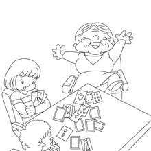 Grandmother Playing Cards Coloring Page