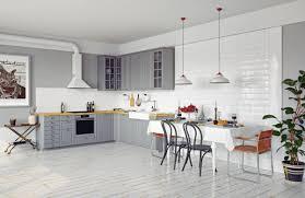 Modern White Kitchen Interior 3d Rendering Stockfoto Und Interior Of Modern Light Kitchen With White Wooden Furniture