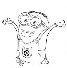Download And Print Dave Happy Two Eyed Minion Coloring Page
