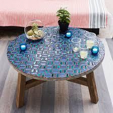 mosaic tiled coffee table indigo vanector living room