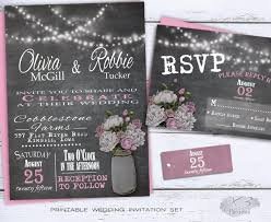 Diy Mason Jar Wedding Invitations Chalkboard Invitation Set Rustic Country