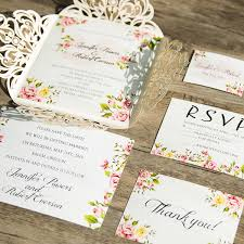 Romantic Peach Flower Spring Ivory Laser Cut Wedding Invitations Elegant