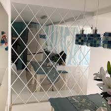 dekorative spiegel wand aufkleber hause wohnzimmer abnehmbare acryl diamanten form kombiniert wand schrank dekoration spiegel
