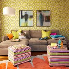 Taupe Sofa Living Room Ideas by Taupe Sofa With Orange Pillows Design Ideas