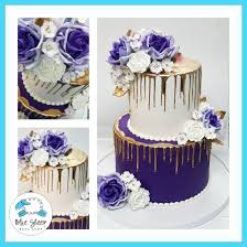 Royal Purple And Gold Drip Wedding Cake Best Cakes Nj