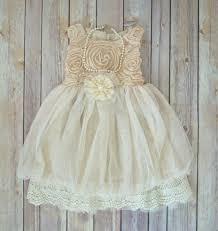 Beige Ivory Lace Flower Girl Dress Boho Flower Girl dress Rustic