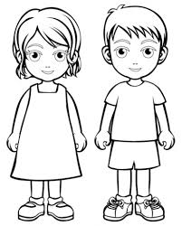 Boy Girl Coloring Page Boys And Girls Wear Colouring Pages Regarding