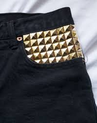 black high waisted u0026 gold studded shorts size 29 women u0027s