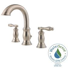 Brushed Nickel Bathroom Faucets Home Depot by Pfister Hanover 8 In Widespread 2 Handle Bathroom Faucet In