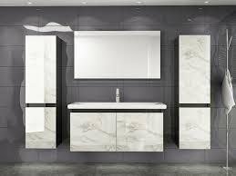 90 cm badmöbel set schwarz weiss marmor optik hochglanz badezimmermöbel 90 cm 2x hochschrank 1x spiegel 1x waschbecken unterschrank 1x keramik