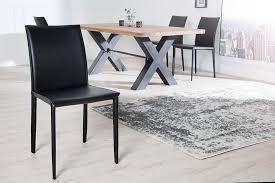 moderner design stuhl schwarz hochwertiger lederfaserstoff esszimmerstuhl küchenstuhl