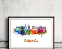 Gdansk Skyline In Watercolor INSTANT DOWNLOAD 8x10 Inches Poster Wall Art Illustration Print Decorative Splatters