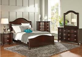 Rooms To Go Queen Bedroom Sets by Mansell Manor Cherry 5 Pc Queen Panel Bedroom Bedroom Sets Dark Wood