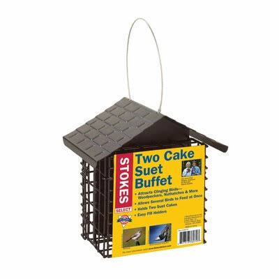 Stokes Select Double Suet Bird Feeder - with Metal Roof, Two Suet Capacity
