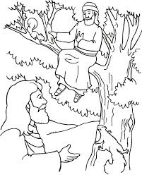 Tree Coloring Pages Zacchaeus Kids