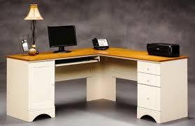 sauder harbor view antique white corner computer desk at menards