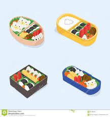 Download Set Of Different Bento Japanese Lunch Boxes Collection Funny Cartoon Food Isometric
