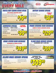 Kia Specials And Coupons For Auto Repair Parts, Service | Champion Kia