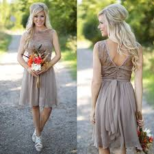 Brown Short Rustic Bridesmaid Dresses Lace Top Chiffon Summer