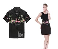 matching made in hawaii men shirt and women tank dresses in black