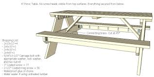 picnic table plans 6 foot