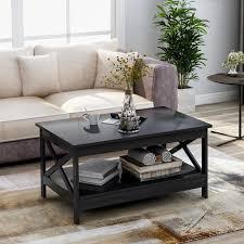 modernluxe couchtisch holz beistelltisch mit lagerregal wohnzimmer wohnzimmertisch beistelltisch holztisch kaffeetisch tisch modern x design 100 x 60