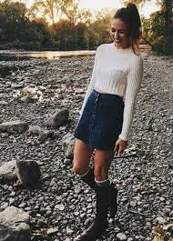 Cute Fall Outfit Idea With Denim Skirt
