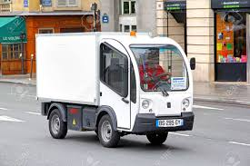 100 Electric Mini Truck PARIS FRANCE AUGUST 8 2014 Cargo Goupil