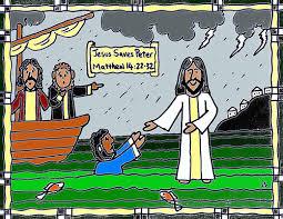 Jesus Saves Peter Walks On Water Coloring Sheet