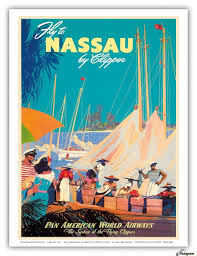 Fly To Nassau Pan American World Airways Travel Poster