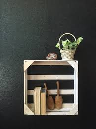 White Wooden Wall Hanging Crate Shelf Pocket