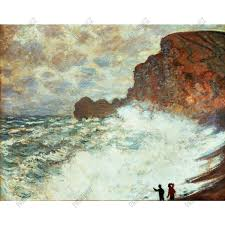 Claude Monet Stormy Seascape Handmade Oil Painting Reproduction on