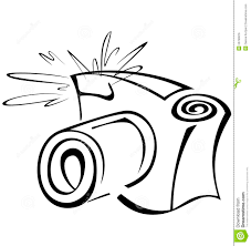 Black And White Contour Camera Stock Vector Illustration
