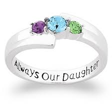 Buy Sterling Silver Always Our Daughter Birthstone Ring