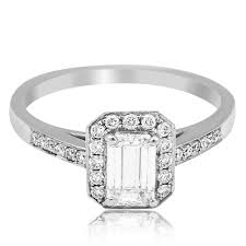 Emerald Cut Diamond Vintage Style Engagement Ring