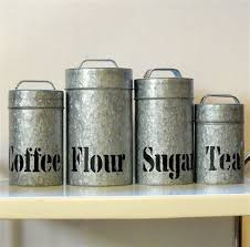Vintage Galvanized Metal Kitchen Canisters by TheFlyingBroom