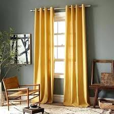 Curtains For Grey Room Walls Yellow Gray Linen Cotton Grommet Window