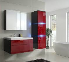 badmöbel set 1 new rot hochglanz schwarz keramik waschbecken badezimmer led beleuchtung badezimmermöbel keramikbecken